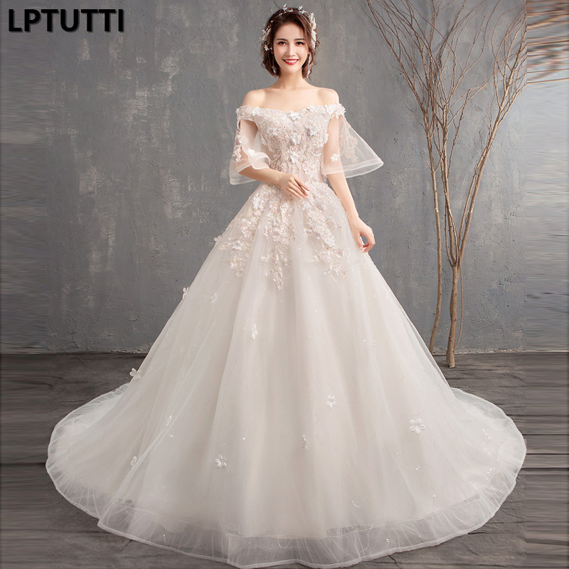 LPTUTTI Beading Lace Appliques New Vintage Princess Bridal Marriage Gown Boho Bride Simple Party Long Luxury Wedding Dresses