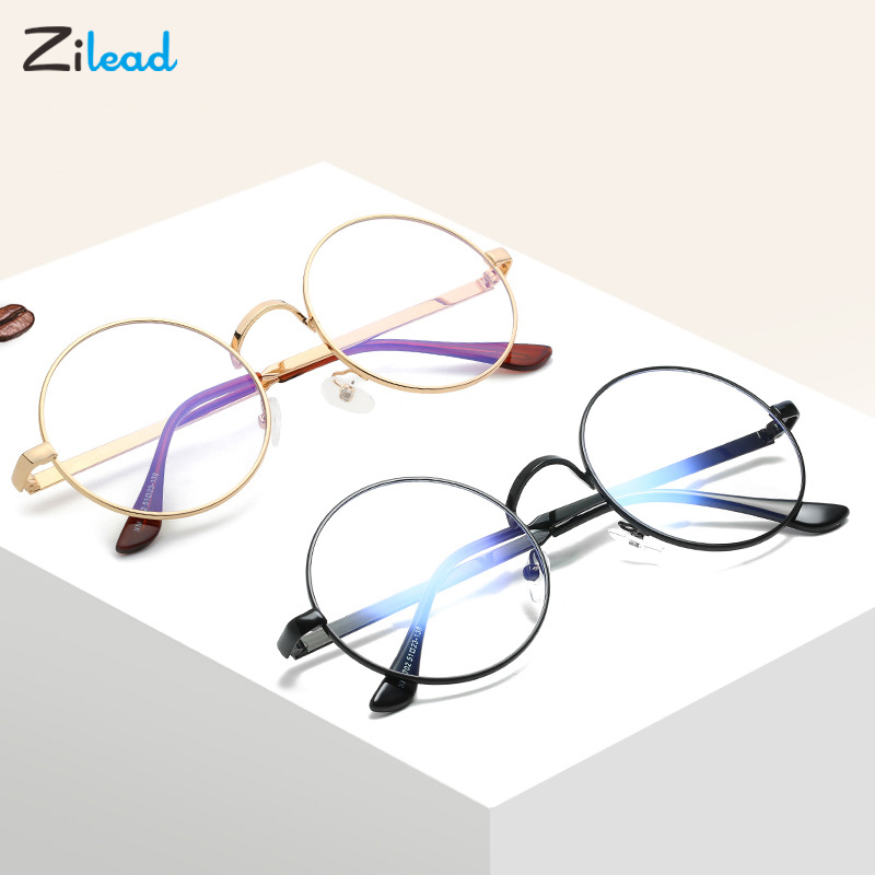 Zilead Vintage Glasses Round Frame Plain Mirror Eyeglass Unisex Retro Designer Metal Zero Diopter Eyewear Fashion Students Gift