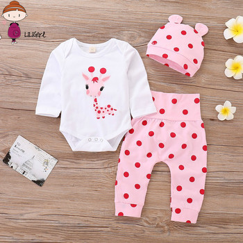 LILIGRIL Baby Girl Clothes Polka Dot Newborn Baby Girl Outfits Set Cute Giraffe Infant Girl Clothing With Hat  Spring  Autumn autumn thanksgiving fall winter baby girls brown orange turkey outfits polka dot pant clothes ruffle boutique match accessories
