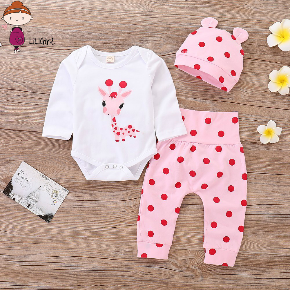 LILIGRIL <font><b>Baby</b></font> <font><b>Girl</b></font> <font><b>Clothes</b></font> Polka Dot <font><b>Newborn</b></font> <font><b>Baby</b></font> <font><b>Girl</b></font> Outfits Set Cute Giraffe Infant <font><b>Girl</b></font> Clothing With Hat Spring <font><b>Autumn</b></font> image