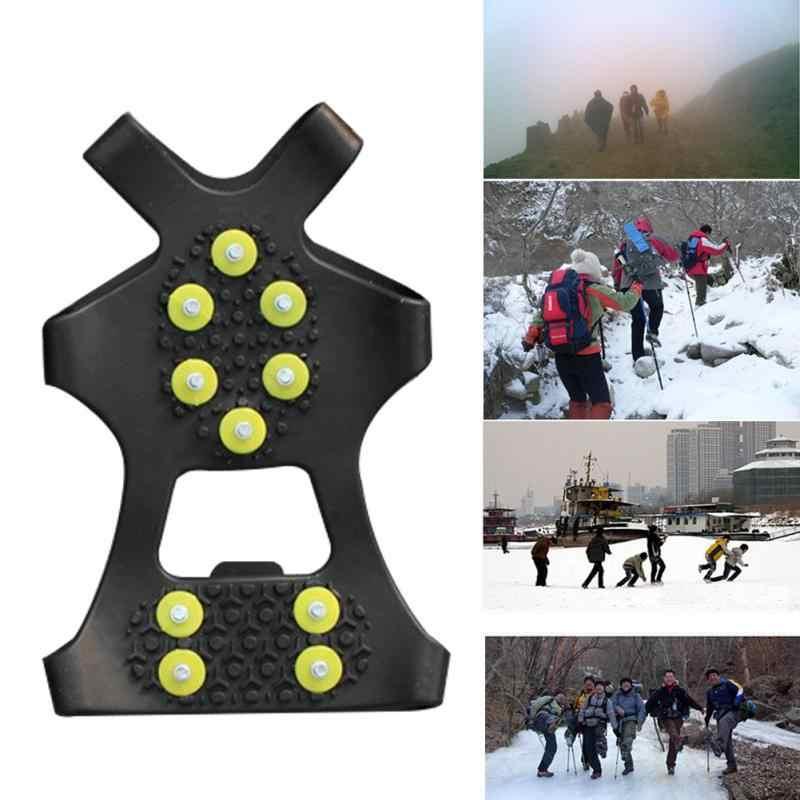1 çift S M L 10 Çiviler Anti-Skid Kar Buz Tırmanışı Ayakkabı Spikes Sapları Kramponlar Cleats Galoş kramponlar başak ayakkabı krampon