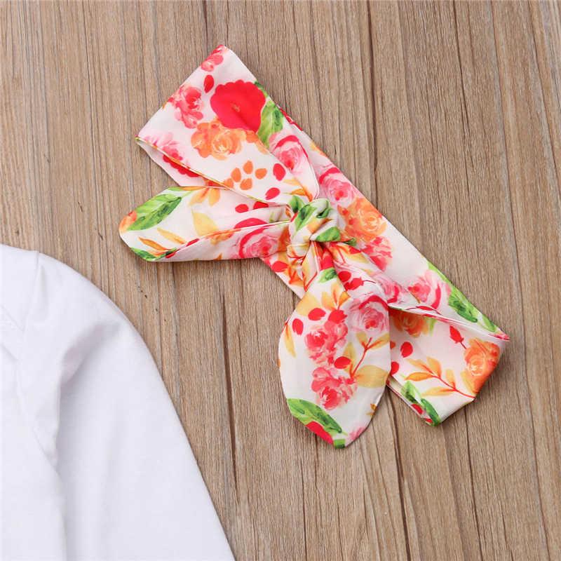 Pasgeboren Baby Meisjes Zusje Tops Romper + Bloemen Casual Broek Hoofdband 3 stks Outfits Set Kleding Sets