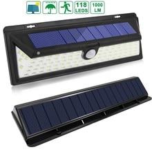 T30 118 светодио дный 1000LM IP65 движения PIR Сенсор солнечный свет сада Открытый светодио дный Солнечный лампы 3 режима безопасности бассейн двери солнечное освещение