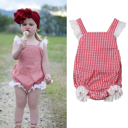 2019 New Summer Newborn Kids Baby Girls Lace Bodysuits Backless Checked Bodysuit Babygrows Outfits 0-24M