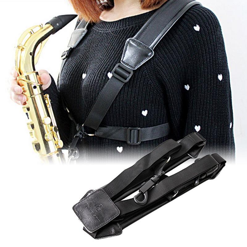Arnés ajustable de la correa de hombro E-plano Alto B-flat saxo Tenor saxofón Correa cuello Correa Saxofón Soprano Accesorios