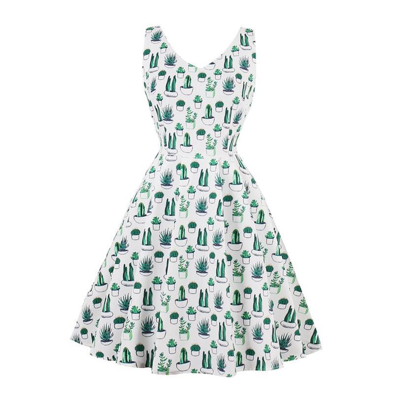 Retro Hepburn Style Whole-body Green Cactus Print Sleeveless Slim Waist Flare Dress