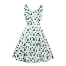 Retro Hepburn Style Whole-body Green Cactus Print Sleeveless Slim Waist Flare Dress