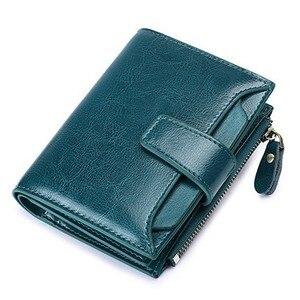 Image 5 - יוקרה מותג נשים של ארנק עור פרה קטן ארנק נשים קצר רוכסן גבירותיי מטבע ארנק כרטיס מחזיק Femme מיני ארנק