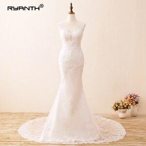 Image 5 - Ryanth זול Vestido דה noiva סקסי גב הפתוח תחרת בת ים שמלות כלה 2019 חוף ארוך רכבת חתונת שמלות Robe De mariage