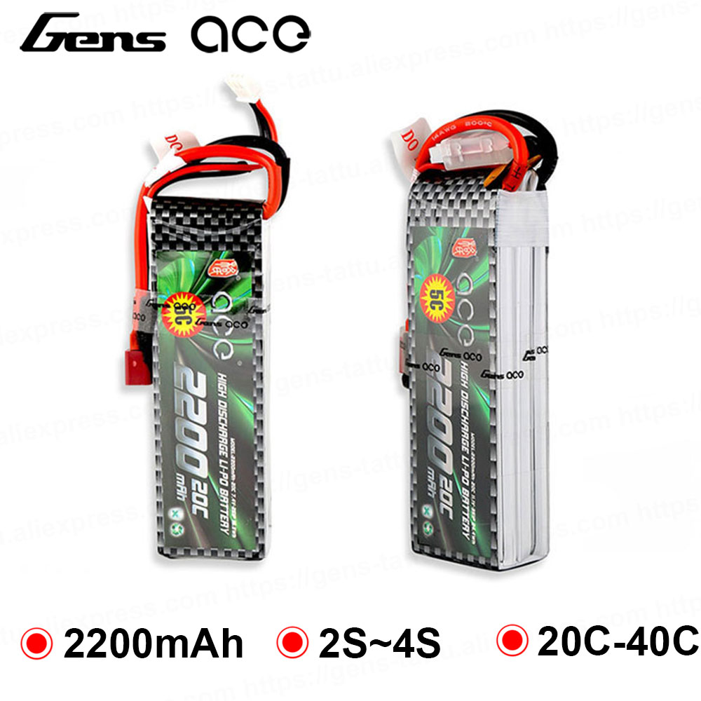 2Pcs Gens ace Lipo Battery 7.4V 11.1V <font><b>14.8V</b></font> <font><b>2200mAh</b></font> Lipo 2S 3S 4S RC Quadcopter Deans Plug T Connector Fixed Wing 450 Helicopter image