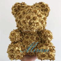 2019 Valentines Gold and silver Silk Rose Bear Wedding Gift Girlfriend Gift Anniversary Gift (free Customize Ribbon Tie)