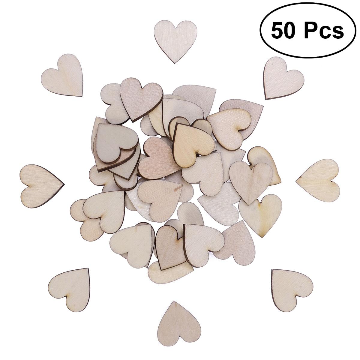 50 шт. сердцевидный деревянный ломтики Неокрашенный натуральный береза DIY ремесла украшения