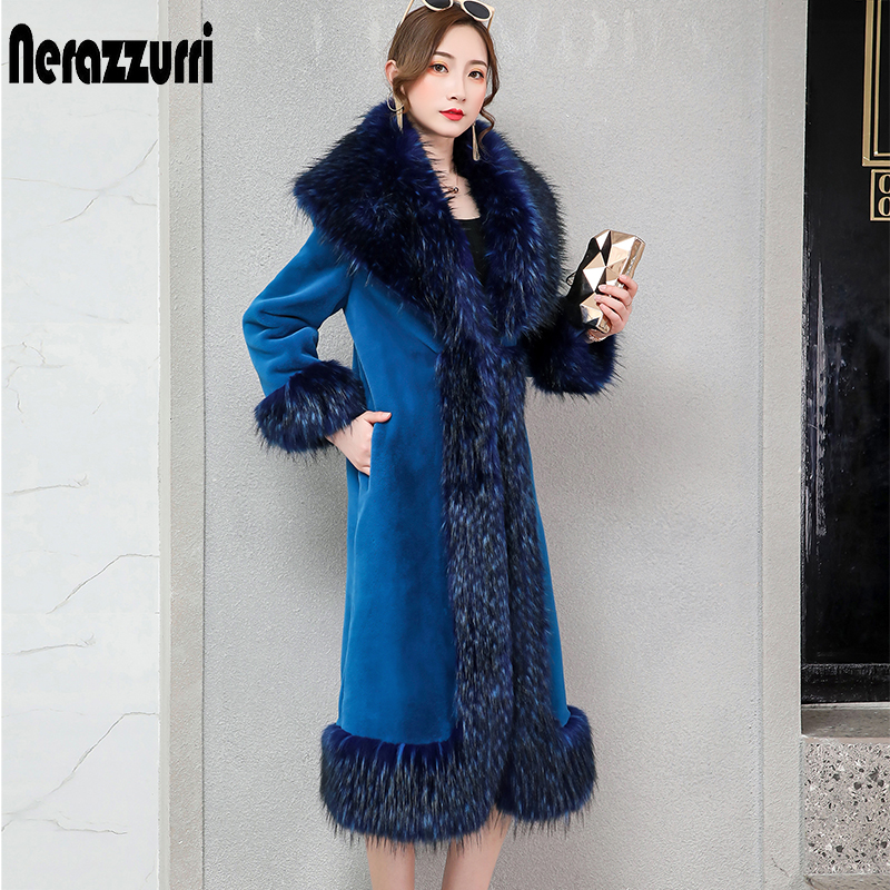 Nerazzurri Luxury Blue Faux Fur Coat With Fox Trim Plus Size Flufy Long Winter Fake Fur Warm Sheared Mink Fur Coats 5xl 6xl 7xl