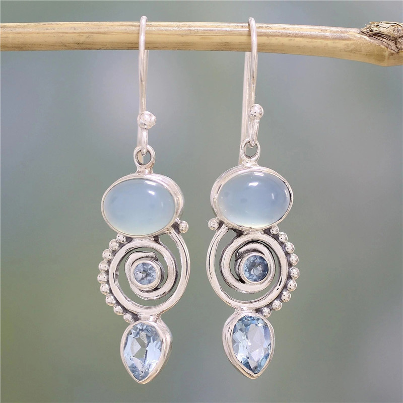 New Style Moonstone Handmade Drop Earring Jewelry Womens  Silver Retro Natural Stone Earrings Gifts