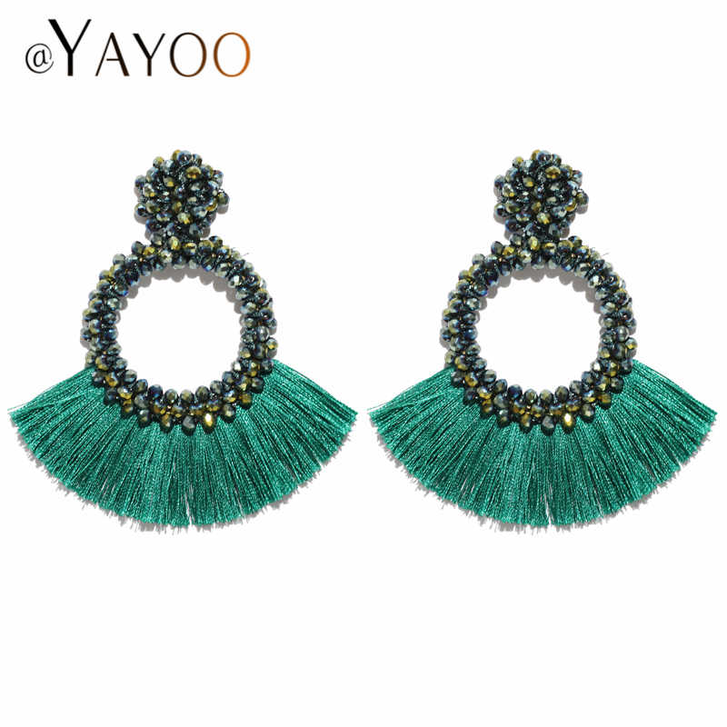 Long Drop Tassel Earrings For Women Vintage Ethnic Big Crystal Earring Wedding Statement Fashion Jewelry Earrings Female
