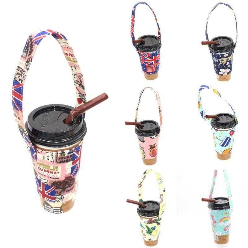 Cão Dos Desenhos Animados Saco Resuable eco Bebida Copo Cobertura de Lona Sacola Bolsa