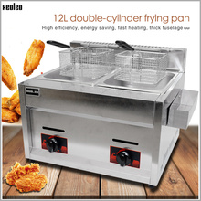 XEOLEO газовая плита для производства фритюрницы из нержавеющей стали жарочная машина два бака двойное сито жареная курица/франч фри 12л