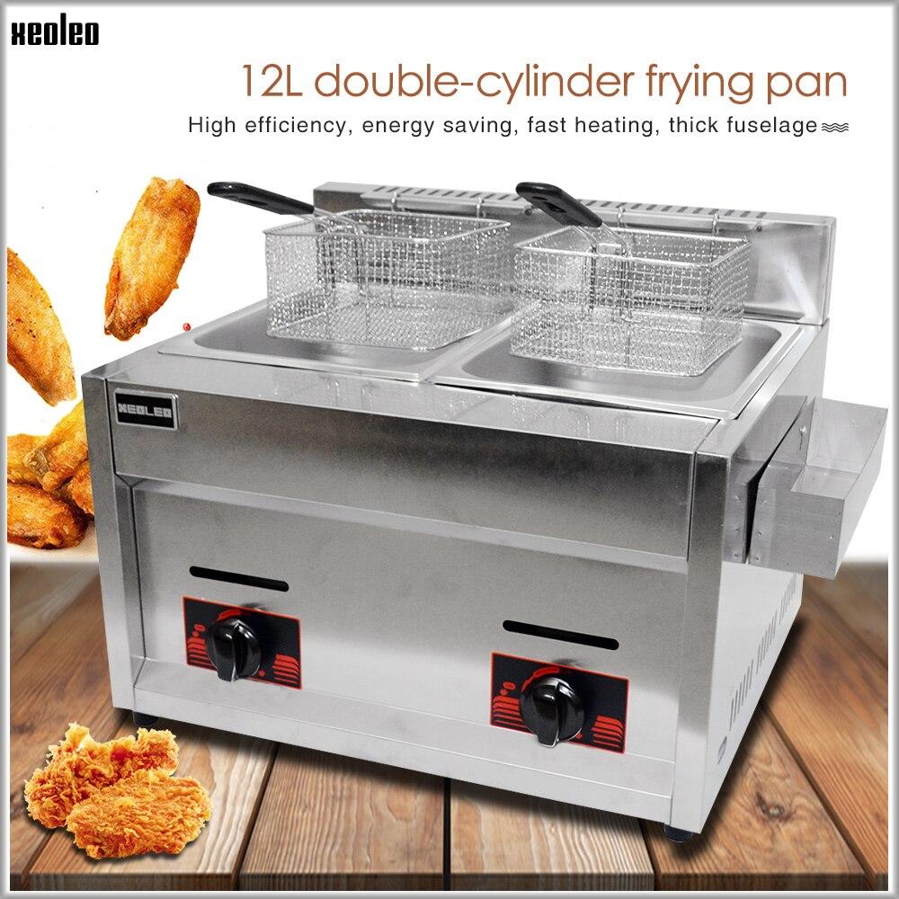 XEOLEO Multifonction gaz Friteuse acier inoxydable Friture Machine 12L Deux Réservoirs À Double Tamis Friteuse Frit Poulet/Franch Frites