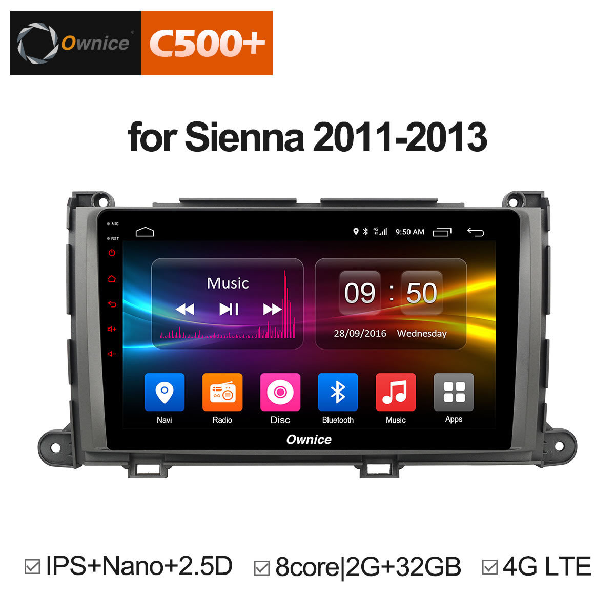 Ownice C500 + G10 9 pouces headunit voiture PC Octa Core Android 8.1 DVD GPS Navigation pour TOYOTA Sienna 2011 2012 2013 4G LTE voiture jouer