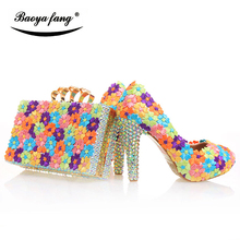 BaoYaFang Flower womens wedding shoes with matching bags High heels Platform shoes and purse High Platform shoes free shipping цена