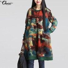 Celmia Vintage Women Sweatshirt Dress Autumn Full Sleeve Casual Loose Print Midi Vestidos Mujer 2019 Robe Dress Plus Size Jumper