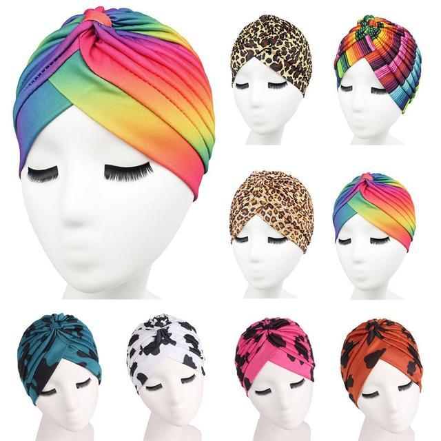 Sombrero de verano con estampado para mujer, gorro de quimio con estampado, bufanda musulmana islámica, turbante elástico, gorro envolvente, accesorios de sombrero para la caída del cabello