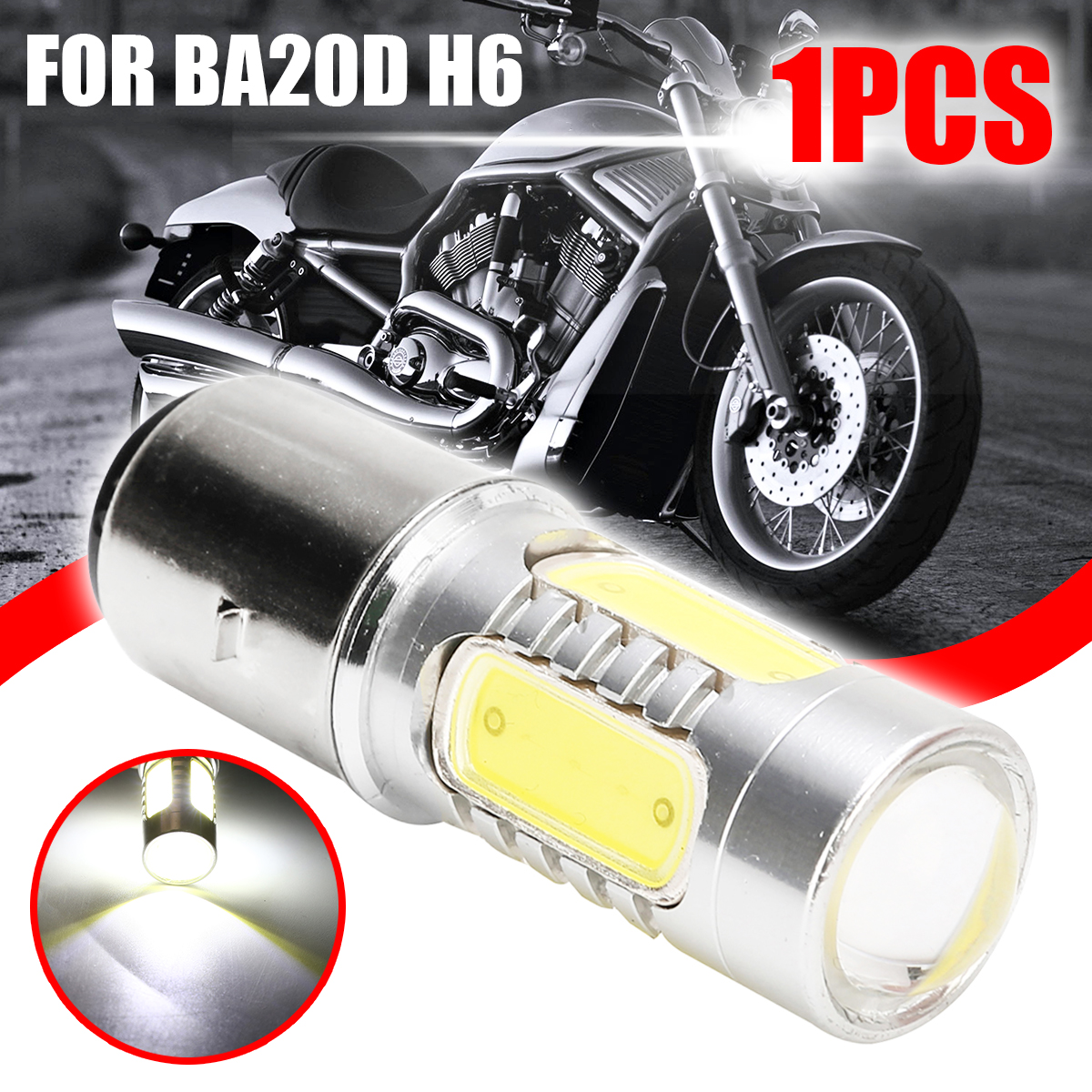 Treyues 1 Pc BA20D H6 Motorcycle Headlight DC12V 4COB LED Light Bulb White For Moped Scooter ATV