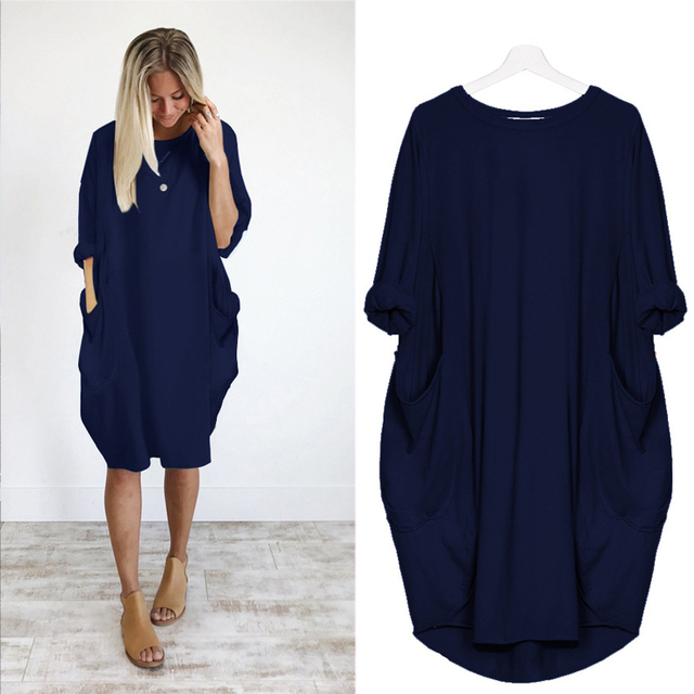 Women Casual Loose Dress with Pocket Ladies Fashion O Neck Long Tops Female T Shirt Dress Streetwear Plus Size 5XL vestidos 3