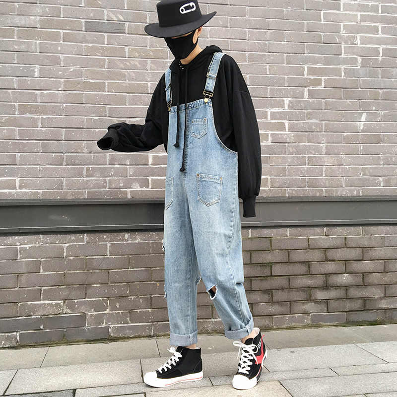 2019 Japanese Style Men's Holes Cowboy Salopettes Casual Pants Romper Mens Blue Jumpsuit Solid Color Slim Fit Trousers S-2XL