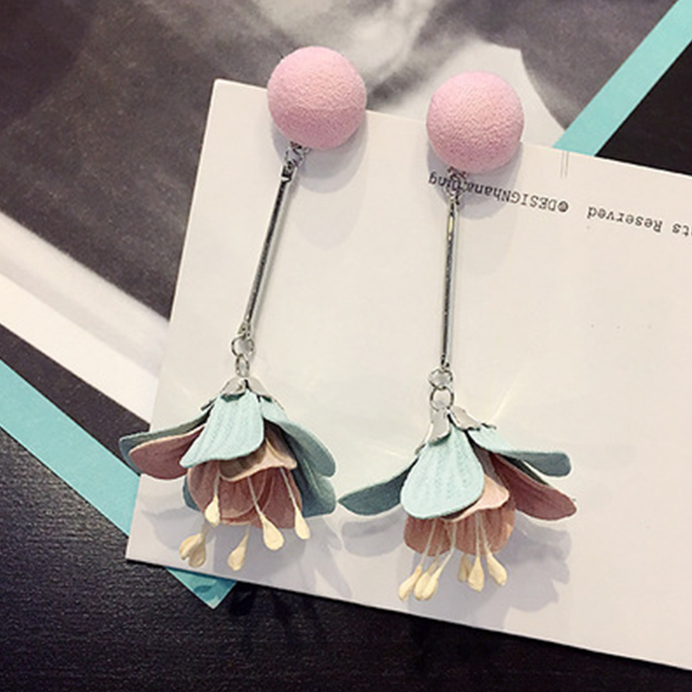 Women Alloy Dangle Korean Fabric Flower Earrings Jewelry Fabala Drop Long Tassel Eardrop Bohemia