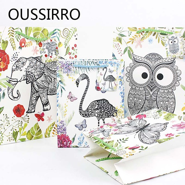 Creative Color Animal Forest Paper Gift Bag Wedding And Birthday Party Gift  Decoration Packaging Bags With Best Wishes Handbag