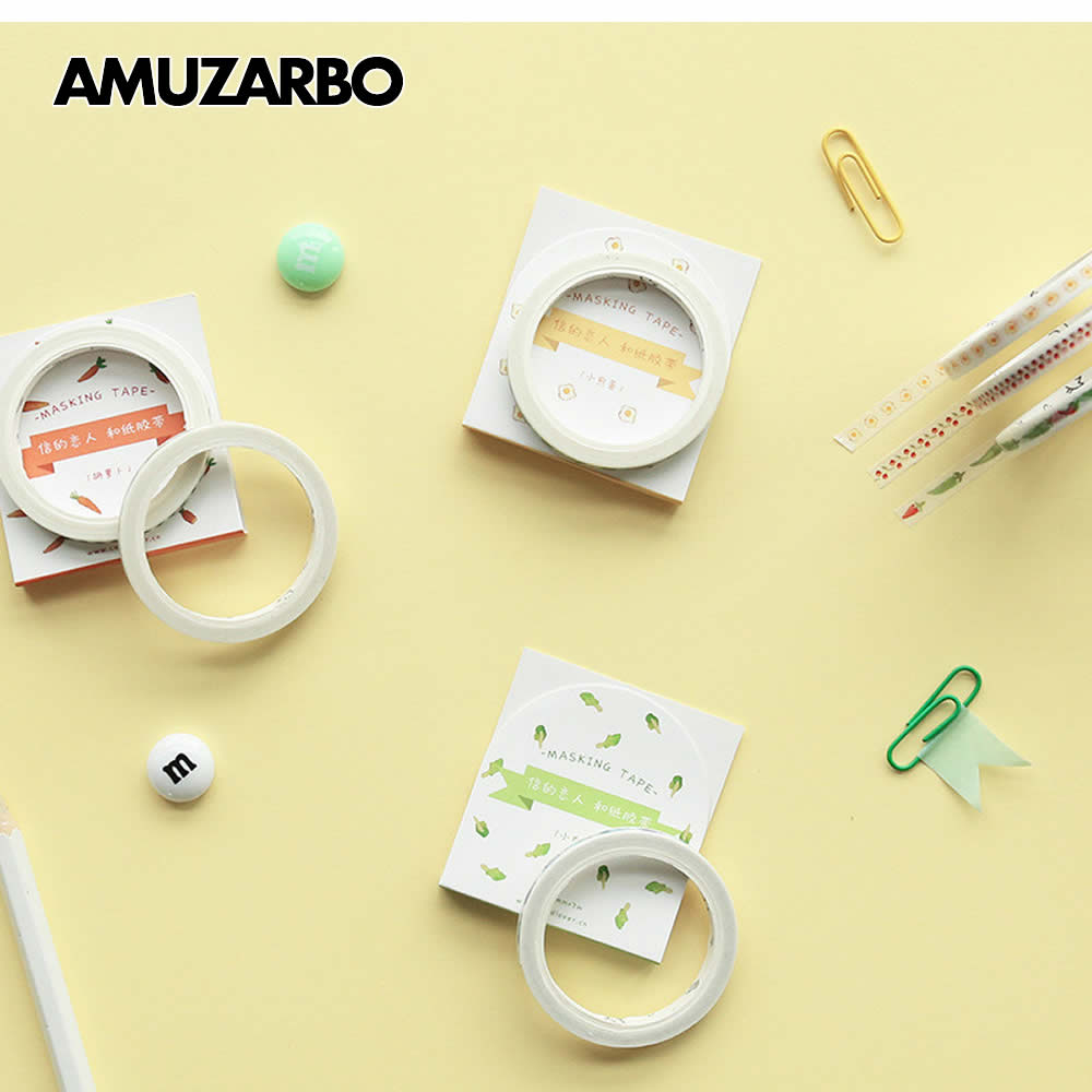 Slim Cartoon Foods Vegetables Washi Tape DIY Decoration Scrapbooking Planner Masking Tape Adhesive Tape Kawaii Stationery