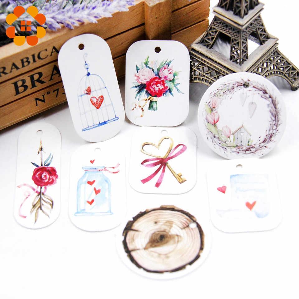 50 יח'\חבילה יפה נייר תגיות עם קנבוס חבל חתונה DIY חבילה מסיבת קישוטי Mariage חג אהבת מתנות עיצוב הבית