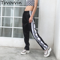 Casual Satin Pants Side Button Striped Split Pants Women Black High WaistStraight Sweatpants Pantalon Female Sport bottomsC465