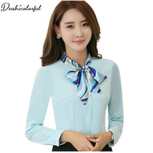 Dushicolorful Spring New  women tops and blouses formal professional work wear plus size modis bluewhite blouse
