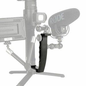 Image 3 - Per Dji Osmo Mobile 2 Ronin S Maniglia di Montaggio del Giunto Cardanico Staffa a L TransMount Mini Dual Grip per il Monitor HA CONDOTTO LA Luce microfono