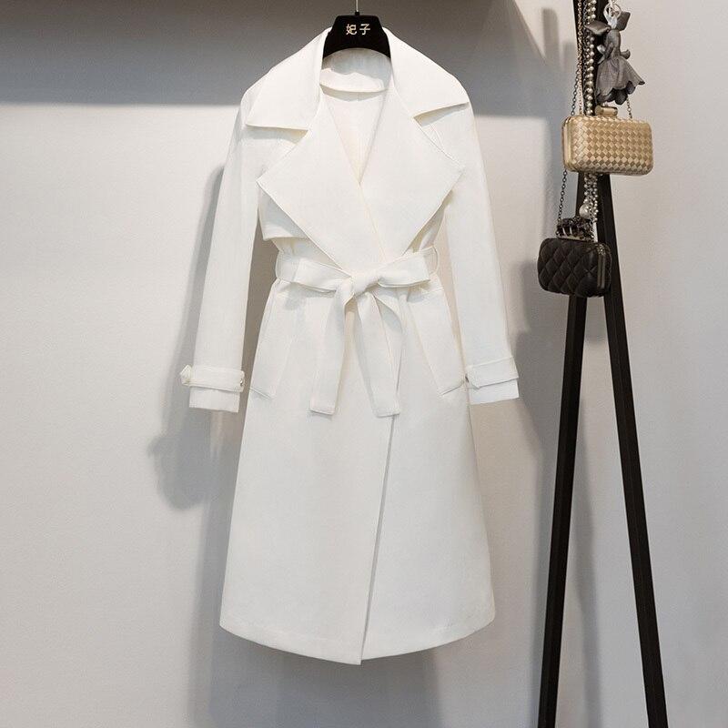 Chalaza Coupe vent Nouveau Vêtements 2019 Revers Q447 Modèle Manteau White Femmes Taille Blanc Femme Lâche Printemps Pour 2EIH9D