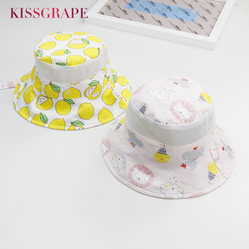 AB Sides 2019 Summer Baby Girls Cotton Caps Toddler Kids Buckets Hats With Cartoon Pattern Children's Mesh Panama Hats Casquette