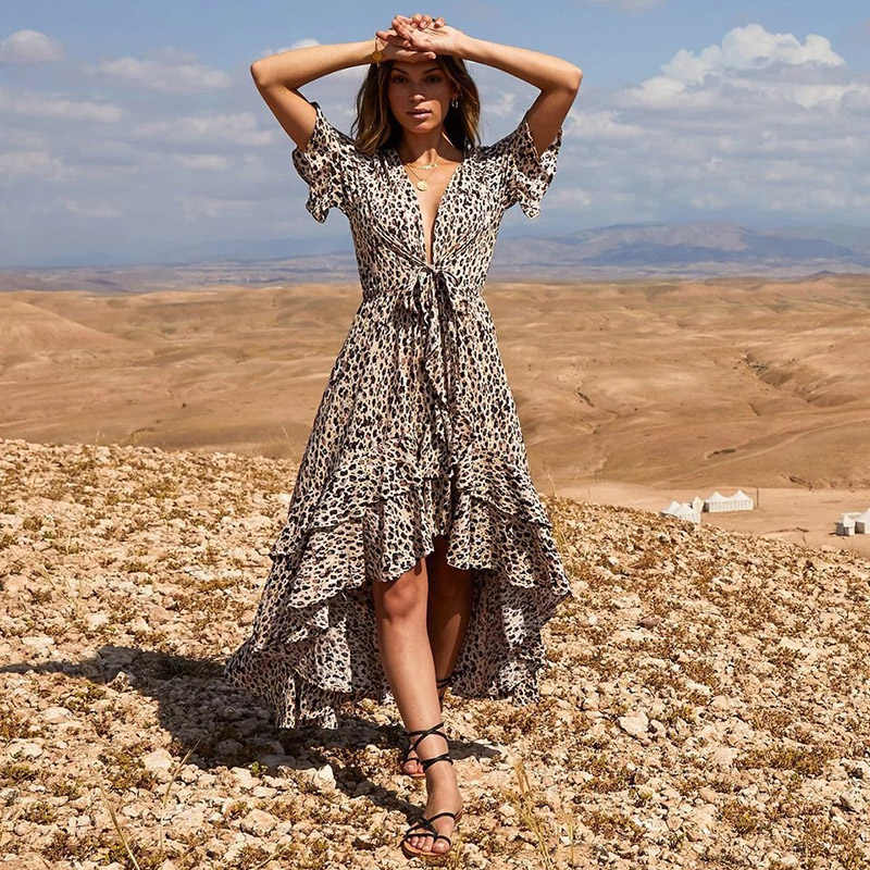 Женские платья с леопардовым принтом, сексуальное длинное платье, повязки, вечерние, повседневные платья, женские пляжные платья с v-образным вырезом, лето 2019, бант, Vestido Festa