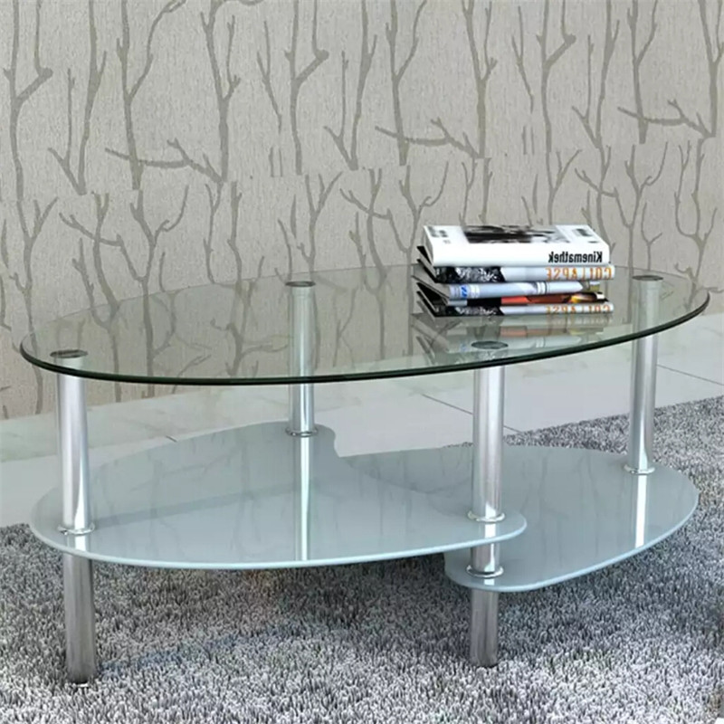 Coffee Table With Exclusive Design White Exclusive 3-Layer And Elegant Coffee Table Design Tempered Glass + Metal Frame Material