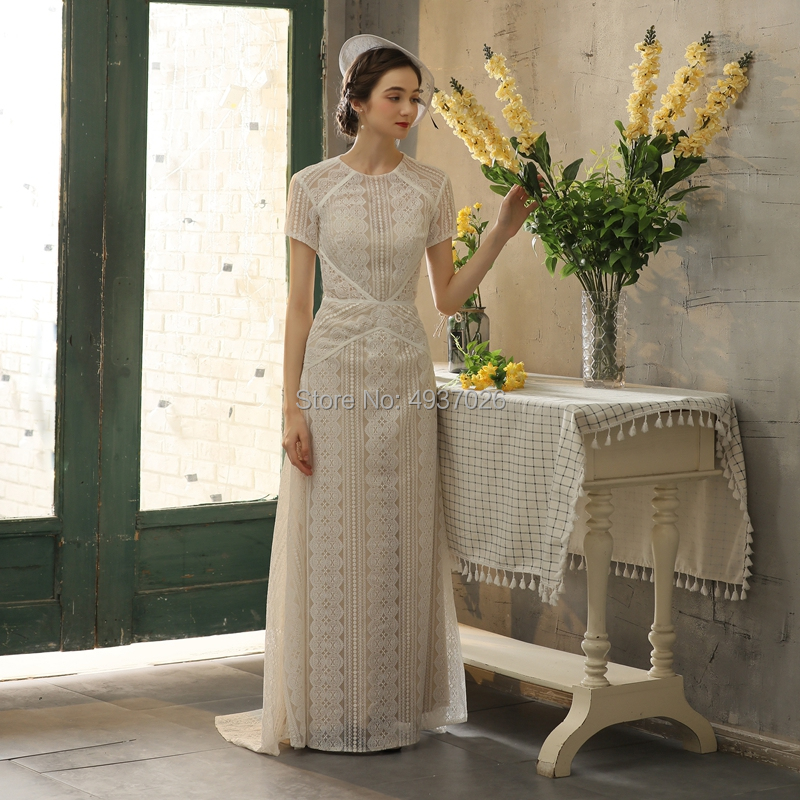 Vintage Boho Style Floor-length Lace Outdoor Light Bride Wedding Dress Short Sleeve Sweep Brush Train Evening Dress With Zipper
