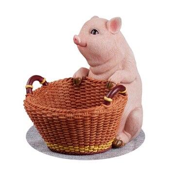 Home Decoration Accessories Creative Resin Animal Decoration Crafts Nice Pig Key Storage Basket Desktop Storage Box Decoration