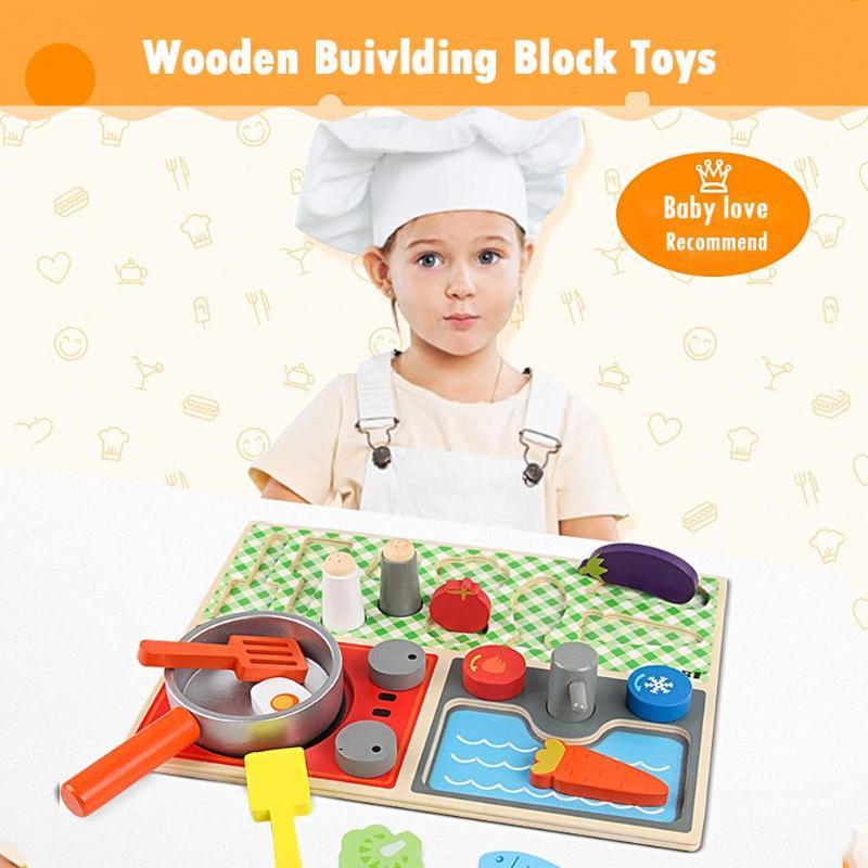 Houten Keuken Bouwstenen Baby Doen Alsof Spelen Speelgoed Educatief 3d Puzzel Interactieve Educatief Speelgoed Kan Herhaaldelijk Worden Omgedraaid.