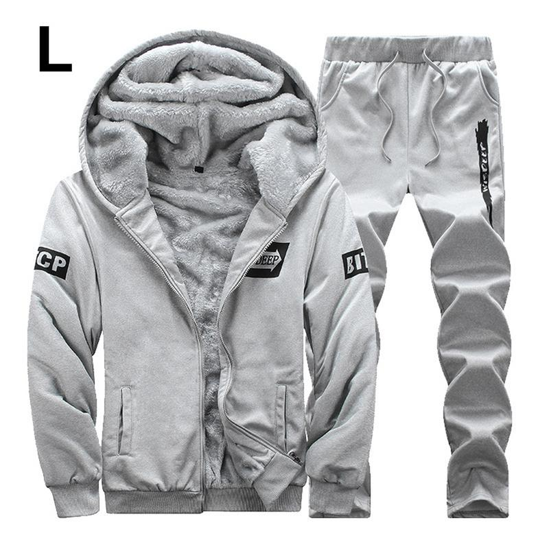 Men's Casual Stylish Set Winter Fleece Lined Thickened Warm Fluffy Sports Sweater Suit Soft Smooth Hooded Loose Solid Clothing