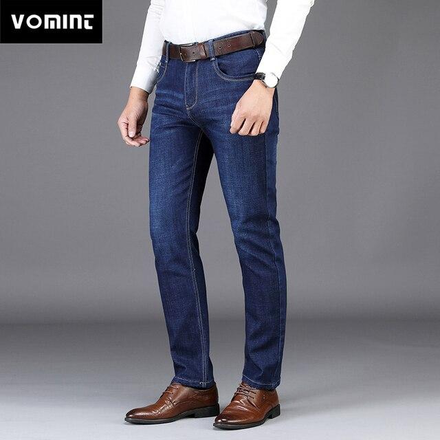 Vomint 2019 New Men's Jeans Smart Business Jeans Regular Straight Fit Elasticity Fabric Long Trousers Work Denim Suit Blue Color