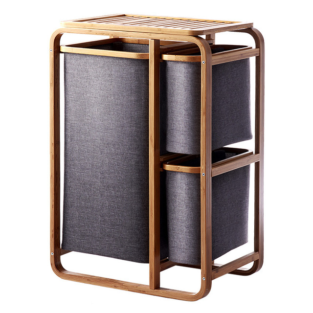 . US  139 0  3 Gird Bamboo laundry basket dirty clothes basket bathroom  laundry hamper storage basket clothes organizer in Laundry Bags   Baskets  from