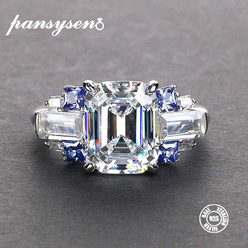PANSYSEN 5 Colors Exquisite Women's Wedding Engagement Moissanite Rings Natural Stone 100% S925 Silver Jewelry Ring Size 5-12