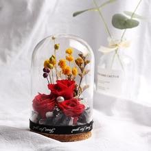 Стеклянная крышка, цветочное украшение, вечная роза в колбе, Цветочный красивый цветок на День святого Валентина, День рождения, Рождество, свадьбу, подарок