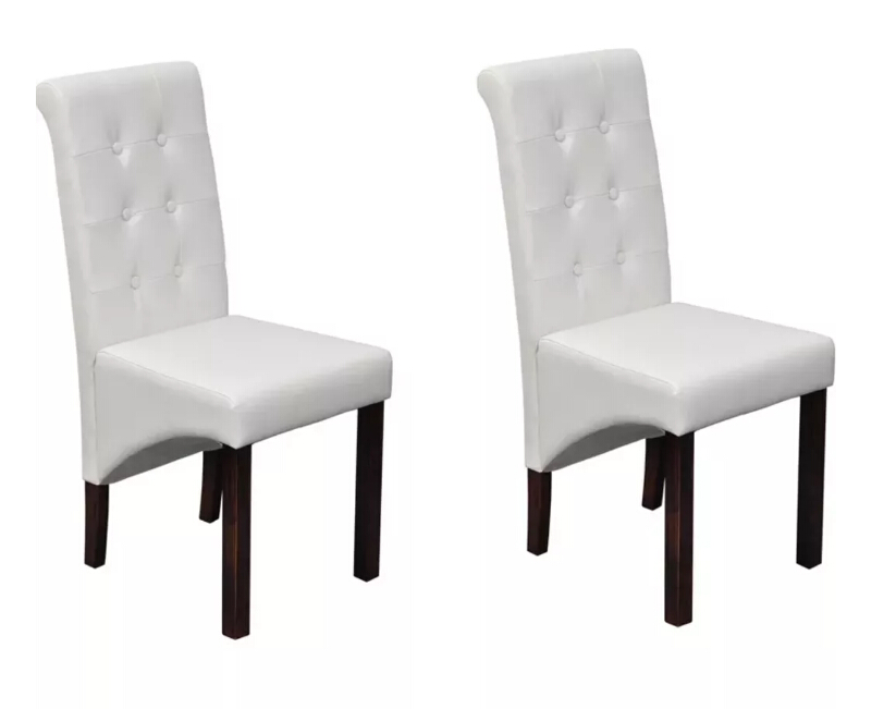 VidaXL 2 Pcs Comfortable Dining Chairs White Synthetic Leather Living Room Seat Solid Computer Study Chair Modern DesignVidaXL 2 Pcs Comfortable Dining Chairs White Synthetic Leather Living Room Seat Solid Computer Study Chair Modern Design