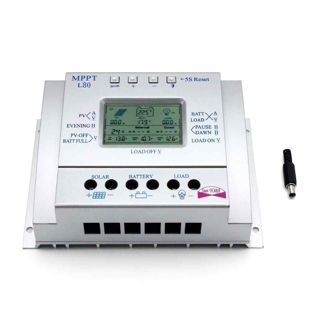 Controlador de carga regulador de Panel Solar inteligente 80A MPPT interruptor automático 12 V/24 V 750 W/1500 W Y LCD USB + tipo Y MC4 conector
